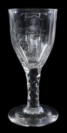 A Dutch stipple-engraved dated commemorative facet-stem 'Friendship' wine glass attributed to David Wolff , the round funnel bowl decorated with a garlanded maiden and inscribed VRIENDSCHAP , the maiden surrounded with ribbon inscribed WINTEREN ZOMER and DOODENLEVEN , verso VEREERT AAN'T GEZELSCHAP DER VVVVV DOOR H STENFERT 1786 , supported on a hexagonally faceted stem and a conical foot, 17.5cm high