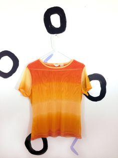 90s Orange Mesh Gradient T shirt by badatpettingcats on Etsy, $18.00