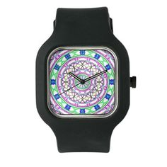 Colorful Clock In Purple And Green Watch
