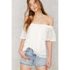 In Bare Form Off-the-Shoulder Lace Top (64 CAD) ❤ liked on Polyvore featuring tops, blouses, white, white blouse, frilly blouse, white lace blouse, off shoulder blouse and white off the shoulder blouse