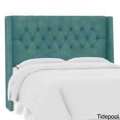 Skyline Furniture Custom Tufted Microsuede Wingback Headboard (California King, Micro-suede Tidepool), Blue