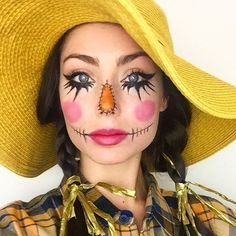 35 Affordable DIY Scarecrow Costume Ideas For Halloween Affordable DIY Scarecrow Costume Ideas From Cute to Creepy 27 Diy Scarecrow Costume, Scarecrow Halloween Makeup, Halloween Costumes Scarecrow, Fete Halloween, Halloween Makeup Looks, Cute Costumes, Costume Ideas, Halloween Face, Maquillage Halloween Simple