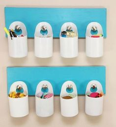 Hanging storage bins made from recycled containers. Hanging storage bins made from recycled containe Fabric Storage, Diy Storage, Storage Containers, Storage Baskets, Storage Ideas, Plastic Storage, Hanging Storage, Diy Hanging, Hanging Fabric