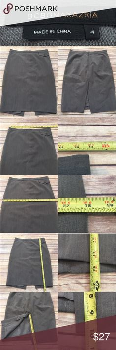🌷Size 4 BCBG Gray Knee Length Slit Pencil Skirt Measurements are in photos. Normal wash wear, inside lining is ripped (as no effect on wearing), no other flaws. B3/27  I do not comment to my buyers after purchases, due to their privacy. If you would like any reassurance after your purchase that I did receive your order, please feel free to comment on the listing and I will promptly respond.   I ship everyday and I always package safely. Thank you for shopping my closet! BCBGMaxAzria Skirts…