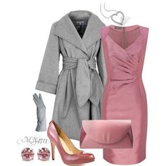 """Well - if I had a spare $6,235 (the earrings weren't priced) I think I might just drop it on this - love, love, love the coat - the dress is at least 'doable' at $70.  """"Color Duo - Gray and Light Pink"""" by moniker-1 on Polyvore"""