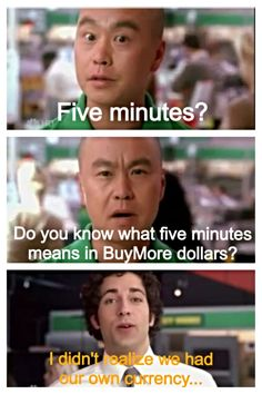 """Chuck and Harry tang! Bucket o sass! """"I didn't realize we had our own currency""""!!!"""