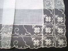 Beautiful  French Net Lace Handkerchief - Tambour Lace Hankie -  Unused - Floral Lace by lasadana on Etsy https://www.etsy.com/listing/94533427/beautiful-french-net-lace-handkerchief