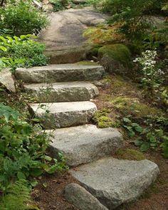 Naturalized Granite Steps - landscape architect: Patrick Chasse`, - Seal Harbor, Maine