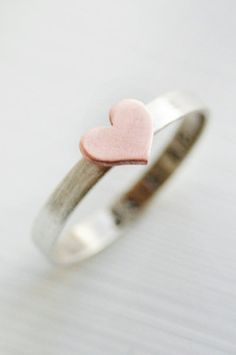 Copper and Silver Heart Ring