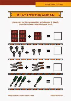 matematika PAUD, belajar anak TK, penjumlahan SD, angka 1-10, gambar alat tukang