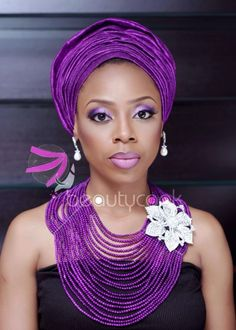 Purple Monochrome. From Omontese Akhetuamn of BeautyCook Studio, we get the chance to see just how gorgeous monochrome makeup can truly be. The model is adorned with an eccentric head piece, fabulous matching jewellery and beautiful monochrome makeup. BellaNaija - April, 2014