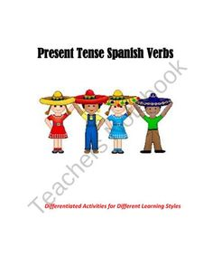 Spanish Present Tense Verbs Differentiated Activities Bundle from Spanish Classroom on TeachersNotebook.com (7 pages)