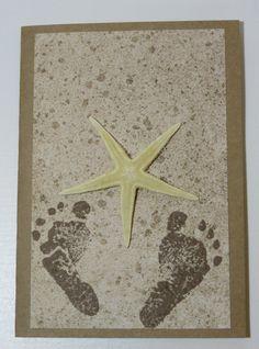 Handmade Greeting Card Starfish Footprints in the by FabulousFuss Handmade Greetings, Greeting Cards Handmade, Footprints, Starfish, Etsy, Decor, Decoration, Hand Made Greeting Cards, Decorating