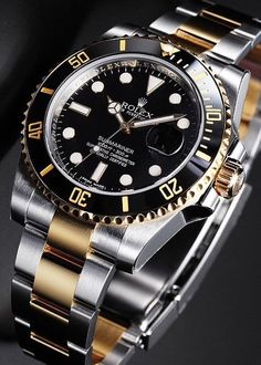 Gorgeous Value - Rolex Submariner 116613 Two Tone Black Ceramic. watches luxury Rolex Oyster Perpetual Submariner Date 116613 Rolex Watches For Men, Luxury Watches For Men, Cool Watches, Men's Watches, Casual Watches, Wrist Watches, Vintage Rolex, Vintage Watches, Relogio Invicta Pro Diver
