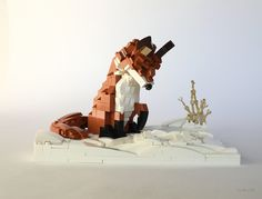 Miro Dudas  -  Winter Fox Hunt  -  Lego custom brick built red fox patiently awaiting for a mouse to peek it's head out of it's burrow from beneath the snow.  This is my entry for Eurobricks' Snow Contest  If you enjoy building Wildlife out of Bricks, please join my new group and submit your brick-built wildlife to my new Flickr group Bricks of Wildlife
