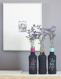 Image about cute in DIY by Karla Janeth Eligio Bottle Painting, Bottle Art, Diy Bottle, Glass Bottle, Fun Crafts, Diy And Crafts, Wine Bottle Crafts, Bottles And Jars, Deco Table