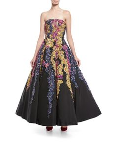 Strapless Embroidered Floral Tendril Gown