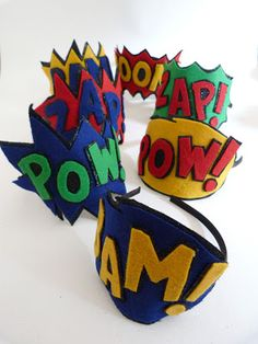 Comic book style head bands, felt and glitter.