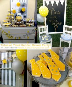 Tutus or Ties? Gender Reveal Party! Via Karas Party Ideas KarasPartyIdeas.com #baby #shower #gender #reveal #ideas #party #tutus #ties #boy #girl #idea