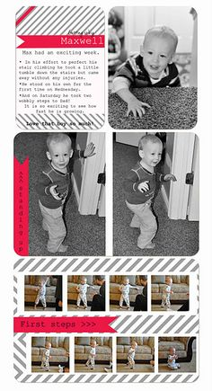 baby book layout for first steps if you're a Photo Shop wiz! #smilebooks
