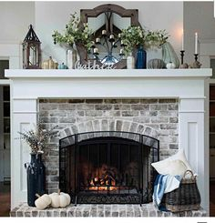 30 Interesting Fireplace Makeover For Farmhouse Home Decor. If you are looking for Fireplace Makeover For Farmhouse Home Decor, You come to the right place. Below are the Fireplace Makeover For Farmh. Brick Fireplace Makeover, Home Fireplace, Living Room With Fireplace, Fireplace Design, Fireplace Ideas, Mantle Ideas, White Mantle Fireplace, Fireplace Hearth Decor, Fireplace Decorations