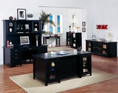 the kathy ireland tribeca loft black complete executive office set by martin furniture contemporary style office furniture black desk with bury style office desk desks