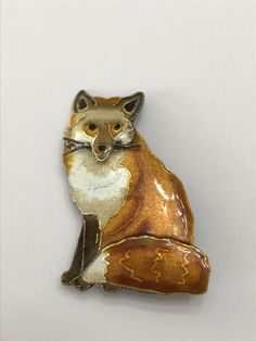 """Antique/Vintage Art Deco Sterling Silver Enamel pin brooch. Fox, dog, wolf ? It has one whisker on face broken off missing seen In picture. Besides that has minor tarnish & patina. Very good cond. Shown on a ruler in photos for size in inches. About 1 9/16"""" tall. I DO COMBINE SHIPPING ON ITEMS ENDING WITHIN 3 DAYS OF FIRST WON AUCTION. PAYMENTS MUST BE MADE WITHIN THE 3 DAY PEROID. REQUESTING A COMBINED INVOICE IS BUYERS RESPONSIBILITY. READ ENTIRE DESCRIPTION FULLY & V..."""