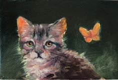 Original oil painting kitten cat butterfly artwork 4x6 art listed by artist USA #Realism Butterfly Artwork, Original Art For Sale, Cats And Kittens, Owl, Bird, The Originals, Artist, Painting, Animals