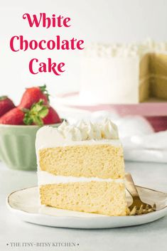 White chocolate cake with white chocolate buttercream! This recipe is so easy to make and it's made totally from scratch. You'll love this homemade dessert! #whitechocolate #cake #dessert Homemade Desserts, Homemade Cakes, Easy Desserts, Dessert Simple, Dessert Food, Dessert Recipes, Bar Recipes, White Chocolate Desserts, Homemade Chocolate