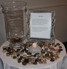 Pebble Ceremony - As the guests arrive for your ceremony, have a vase, bowl, or prayer jar, pens, and paper. Station someone to explain that they are to write a blessing or a wish for the wedding couple and place their wish into the container.