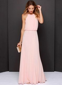 Chiffon Solid Sleeveless Maxi Casual Dresses (1013897) @ floryday.com