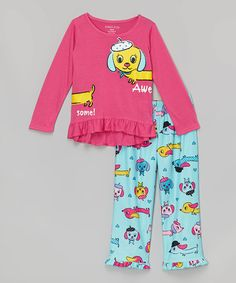 Look at this #zulilyfind! Blue & Pink Dog Pajama Set - Girls #zulilyfinds