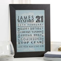 21st Birthday Gift for Him of Personalised Age Word Art · 18th Birthday Gifts ...