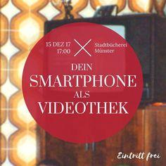 Herzliche Einladung zum Smartphone-Club in der Stadtbücherei Münster!  Das Thema: Das Smartphone als Videothek!  In einem kleinen Vortrag kläre ich folgende Fragen:   Welcher Video-on-Demand-Dienst ist der richtige für mich?   Wie bezahle ich?  Wie kann ich das Bild auf meinen Fernseher übertragen?  Welche Geräte brauche ich?  Welche kostenlosen Apps und Angebote kann ich nutzen?  Brauche ich überhaupt noch einen Kabelanschluss?  Am  Freitag 15.12. um 17:00 Uhr in der Q-Thek der…