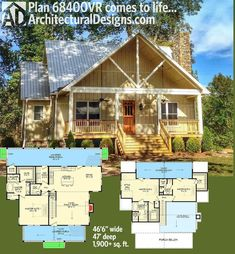For community living with people,Architectural Designs House Plan A front porch and two in back - one off each floor - gives you more livability than the square feet inside. Specs-at-a-glance 3 beds 3 full baths and 1 half bath sq. The Plan, How To Plan, Small House Plans, House Floor Plans, Cabin House Plans, Architectural Design House Plans, Architecture Design, Br House, Cottage House