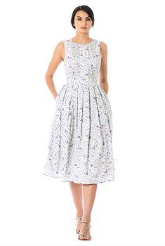 Floral print pintuck pleat crepe midi dress