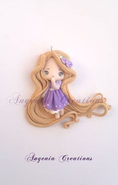 Rapunzel totally handmade with polymer clay Rapunzel by lisaCreations Polymer Clay Kunst, Polymer Clay Figures, Cute Polymer Clay, Cute Clay, Polymer Clay Dolls, Polymer Clay Charms, Polymer Clay Projects, Polymer Clay Creations, Clay Crafts
