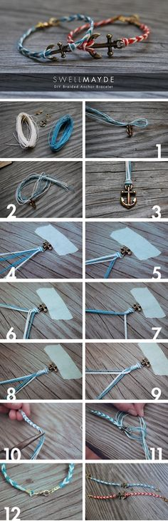 DIY Fishtail Braided Anchor Bracelet - just follow the pictures