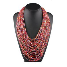 Bohemian Small Beads Multi Layer Necklace Vintage Women Fashion Statement Necklaces Choker Ethnic Jewelry Ethnic Jewelry, Bohemian Jewelry, Jewellery, Boho Necklace, Statement Necklaces, Choker Necklaces, Seed Bead Jewelry, Seed Beads, Multi Layer Necklace