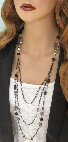 Long Black Beaded Necklace Multistrand Black Chain Necklace