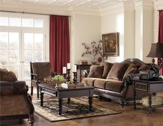 """With the combination of fabric and faux leather, the Key Town - Truffle Living Room Set by Millennium (Signature Design by Ashley Furniture) from the """"Key Town - Truffle"""" Upholstery Collection captures the beauty of grand traditional style. Dining Room Furniture, Furniture Sets, Home Furniture, Furniture Stores, Brothers Furniture, Formal Living Rooms, Living Room Sets, Modern Living, Diy Furniture Making"""