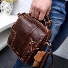 Men Genuine Leather Small Waist Pack Crossbody Shoulder Messenger Fany Handbag | eBay