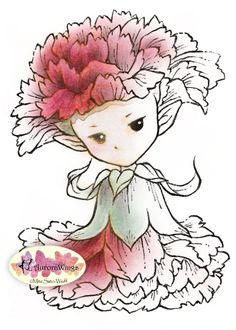 Digital Stamp - Whimsical Carnation Sprite - Instant Download - digistamp - Fantasy Line Art for Cards & Crafts by Mitzi Sato-Wiuff
