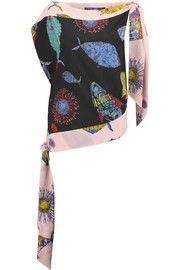Emilio Pucci Asymmetric printed silk top