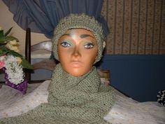 New Crocheted Sage Green Women Accessorie Scarf & Benie Hat Set NEW Handmade  #Handmade #LongScarfHatBenie
