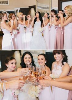 I like the bottom photo. Bridesmaids toasting to mirror the photo of Kevin and the groomsmen toasting with Black Label.