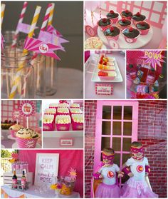 pink super hero party theme | this fabulous girly superhero third birthday party was submitted by ...