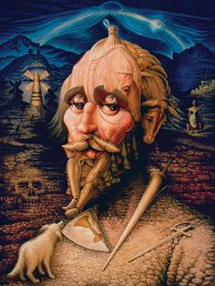 Don Quixote portrait, as well as allegorical images from Cervantes' book.  By Mexican artist, Octavio Ocampo