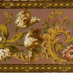 Multicolored Floral Branches Amid Gold Flitter Scrolls between Gold/Brown Chain Edging on Embossed Taupe Ground # Rolls: Condition: Very Good Antique Wallpaper, Original Wallpaper, Borders For Paper, Floral Border, Wallpaper Roll, Flocking, Rolls, Antiques, Pattern