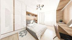 Spálňa je ako tradične v naších návrhoch zladená so zvyškom bytu, čiže v bielej farbe. Do spálne sme umiestnili aj kozmetický stolík. Posteľ je obkolesené nábytkom, kedže úložného priestoru nikdy nie je dostatok. #jabrocky #whiteinterior #bedroomdesign Divider, Retro, Bed, Furniture, Home Decor, Homemade Home Decor, Stream Bed, Home Furnishings, Beds